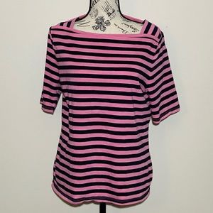 Talbots Stripped Tee Pink Size Large